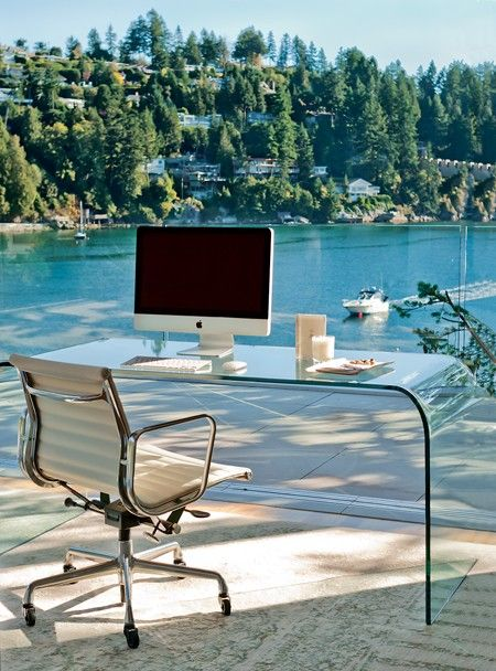 Office On The Water    This spectacular workspace seems to float above the bay.    Not for the easily distracted, Zacharko's office design features panoramic views of the waterfront. A glass waterfall desk disappears against the window, keeping with the ethereal feel of the holiday home.    Designer: David Zacharko & David Yustin