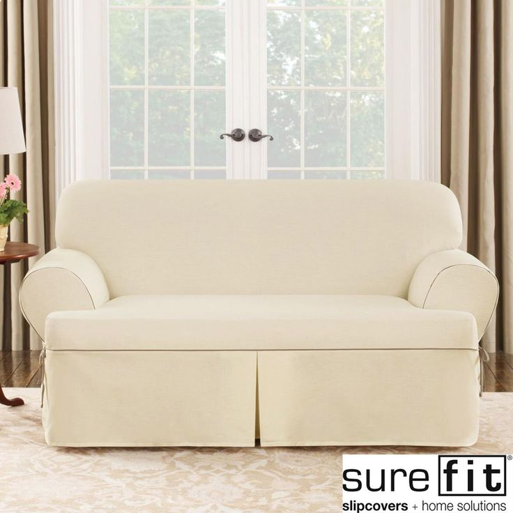 Sure fit contrast cord duck natural t cushion loveseat slipcover Loveseat t cushion slipcovers