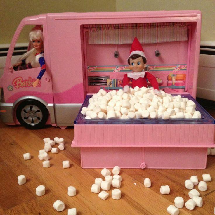 Hanging in the Barbie Camper | Elf on the shelf ideas | Pinterest