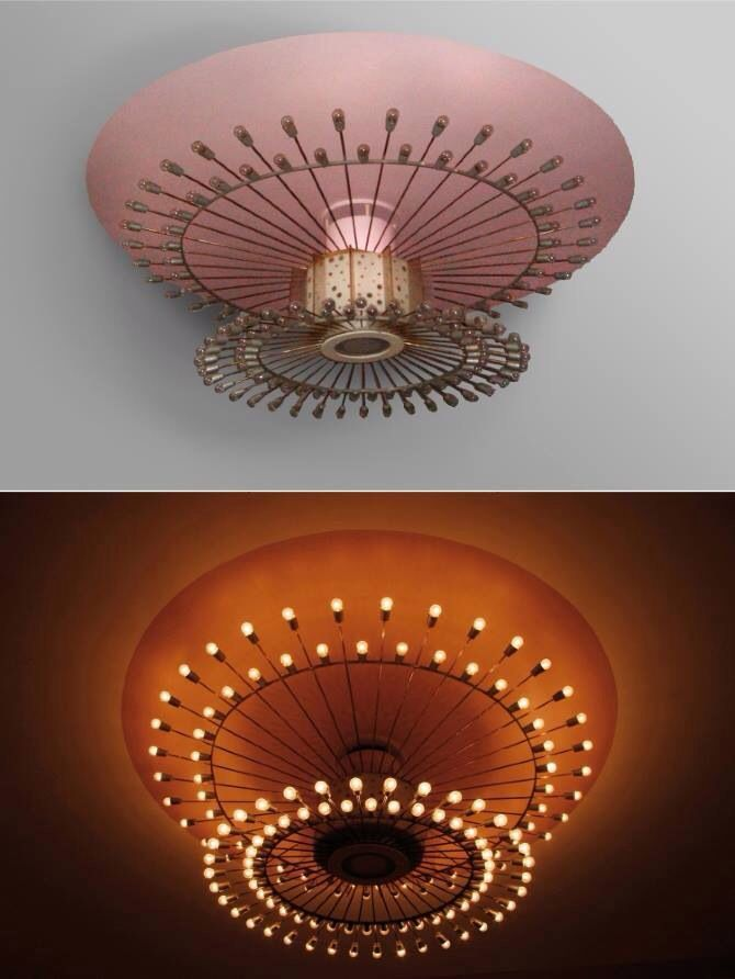 wow this fixture is fabulous atomic pink light fixture