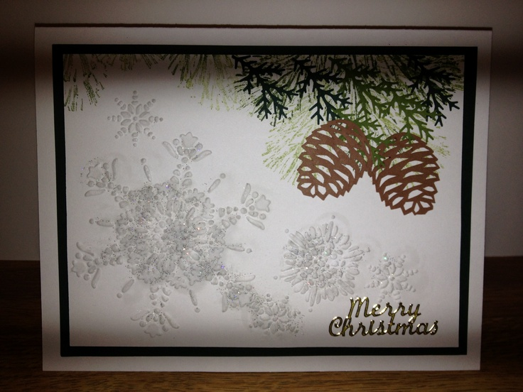 ... folder stampin up, pine cone silhouette file, pines are from a punch