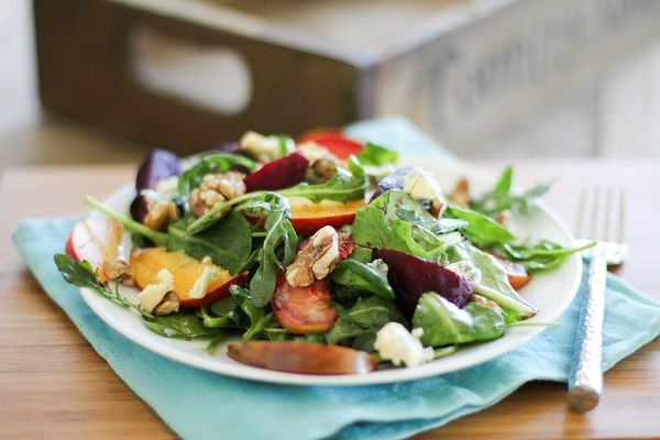 Roasted Beet Salad with peaches, pluots and blue cheese | http://www ...