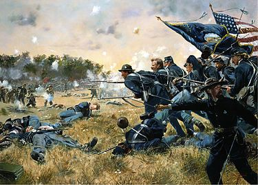 The First Minnesota Volunteer Infantry Regiment mustered for a three-year term (1861-1864) in the Union Army at the outset of the American Civil War when the prevailing enlistment period was three months. During offensive movements, it sustained high degrees of casualties at the Battles of First Bull Run (20%) and Antietam (28%) and a catastrophic degree of casualties (82%) at the Battle of Gettysburg. It is most noted for its service on the second day at Gettysburg.  Joseph Scully was mustered.