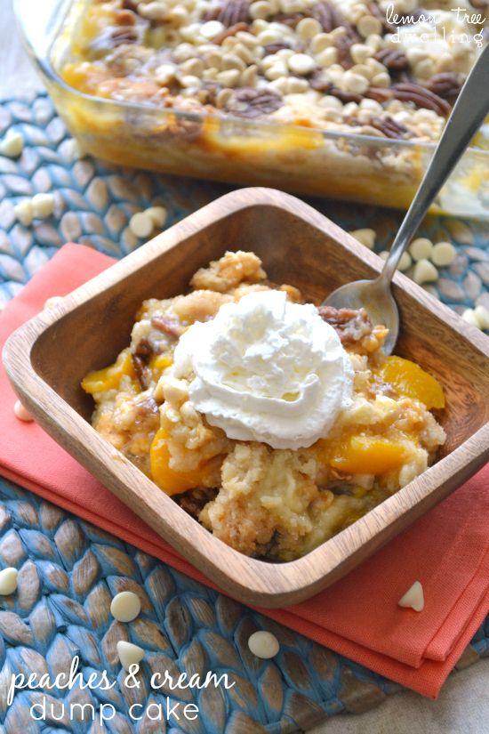 Peaches & Cream Dump Cake. 6 ingredients - just dump & bake!