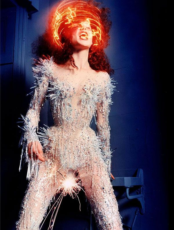 Thierry Mugler Haute Couture S/S 1998 crystal bodysuit photographed by David LaChapelle