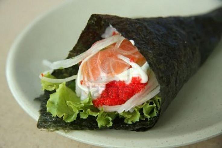 Hand rolled temaki sushi | Temaki Sushi | Pinterest