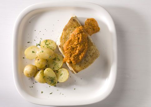 spanish roast chicken with romesco and grilled onions yogurt mar in ...