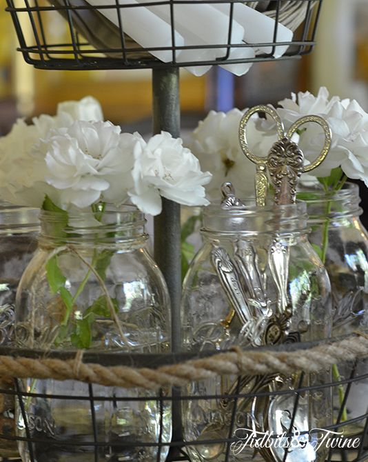 My casual elegant mason jar centerpiece for Casual dining table centerpieces