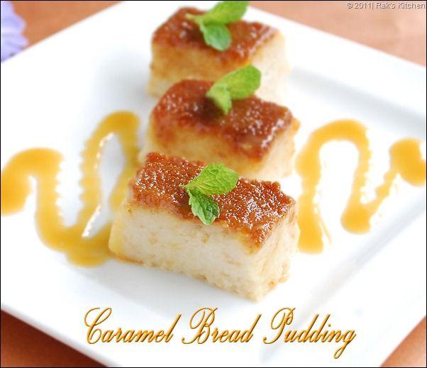 CARAMEL BREAD PUDDING (EGGLESS)   PUDDING RECIPES   RAKS KITCHEN