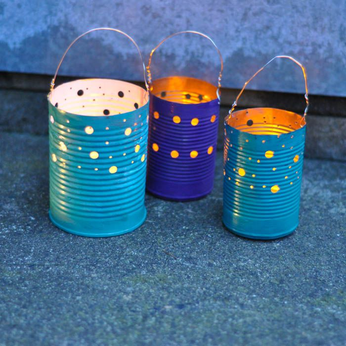 upcycled tin can luminaries