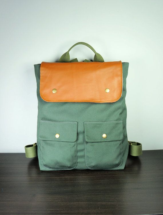 City Backpack in Army Green Canvas Twill/ Backpack/ by HangaBag, $109 ...
