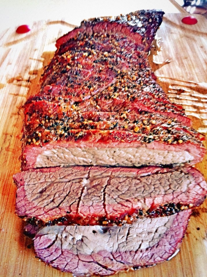 Smoked & grilled Tri-Tip. I like it just a bit more rare than this ...