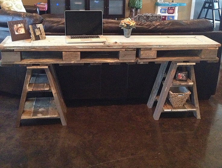 Reclaimed Wood Desk Table Made From A Vintage Door And