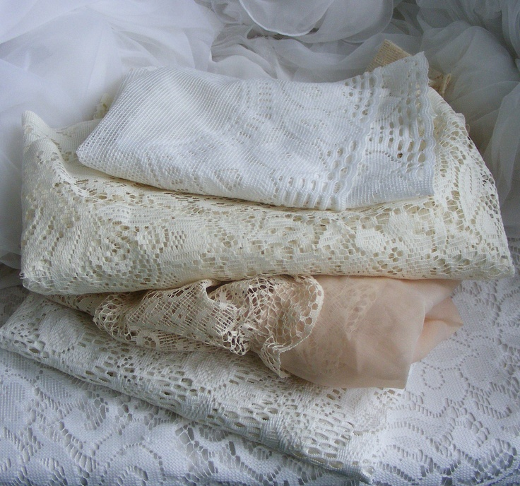 Lot of Vintage Antique Old Lace Valance Curtains Material. $14.00