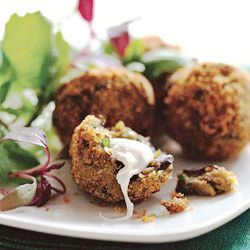 Crispy Eggplant Fritters with Smoked Mozzarella act as a perfect ...