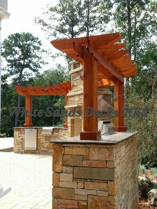 Cypress pergola outdoor kitchen garden ideas pinterest for Pergola outdoor kitchen