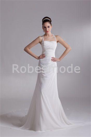 ... sppliques en mousseline de soie/satin  Robe de mariée  Pinterest