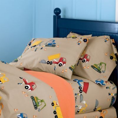 Construction site percale boys bedding kids decorating for Boys construction bedroom ideas