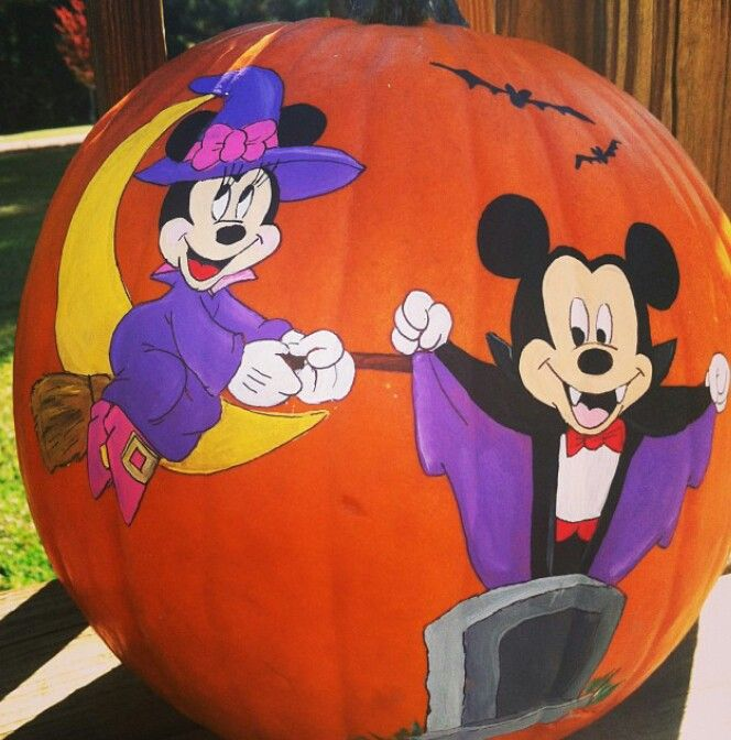 Pin by shawna jameson on halloween decorated pumpkins for How to paint a mickey mouse pumpkin