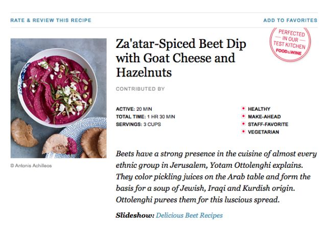 Za'atar-Spiced Beet Dip with Goat Cheese and Hazelnuts from Food and ...