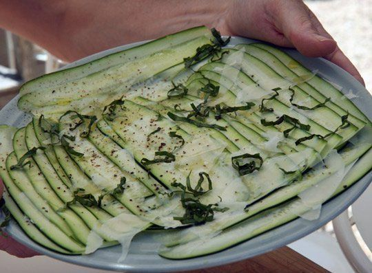 Simple Appetizer Recipe: Raw Zucchini Ribbons with Parmesan ...