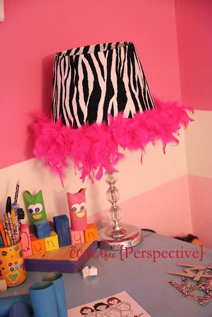 Diy zebra lampshade for little girl room perspective for Diy little girls room