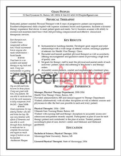 Physical Therapy Assistant Resume Resume Physical Therapist