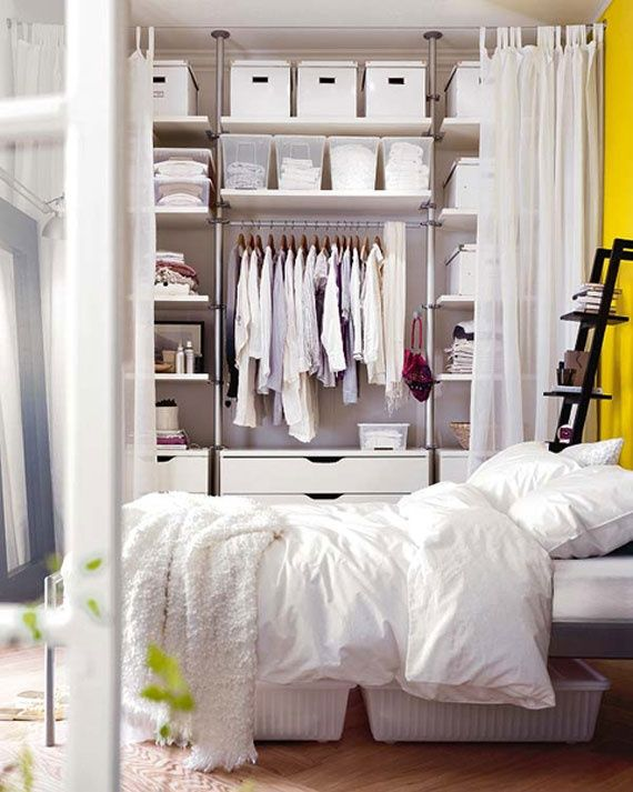 Amazing 44 Smart Bedroom Storage Ideas : 44 Smart Bedroom Storage Ideas With White Bed Pillow Blanket Carpet Wardrobe Window Curtain Hardwood Floor