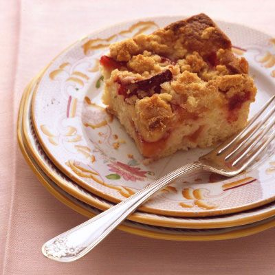 Plum-Nectarine Buckle...cake like cobbler w/crumble topping