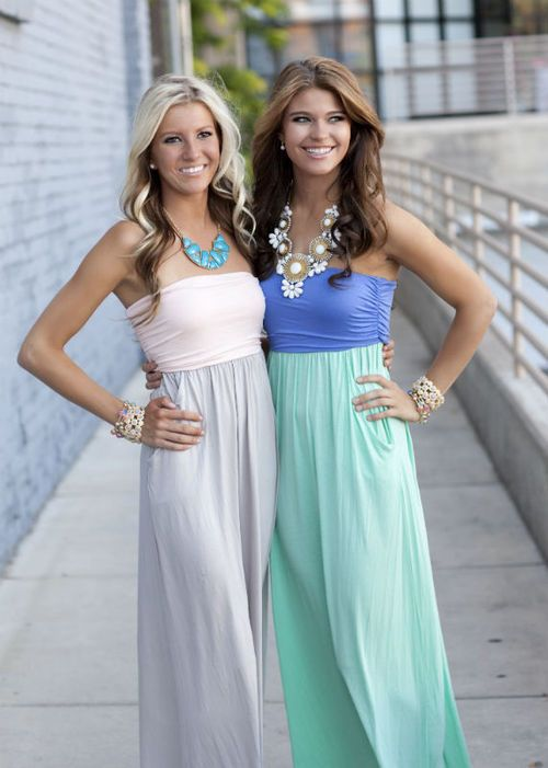 comfy strapless maxi dresses, with pockets