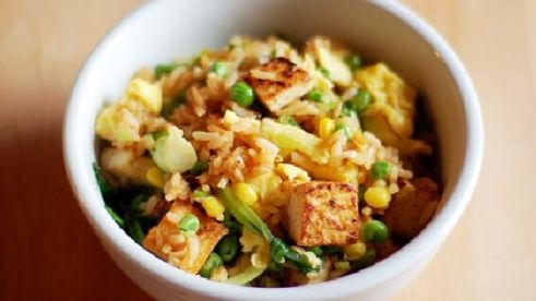 Quick Tofu Fried Rice - use gf soy sauce instead of liquid aminos.