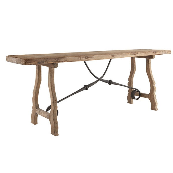Rustic trestle console table for Sofa table rustic
