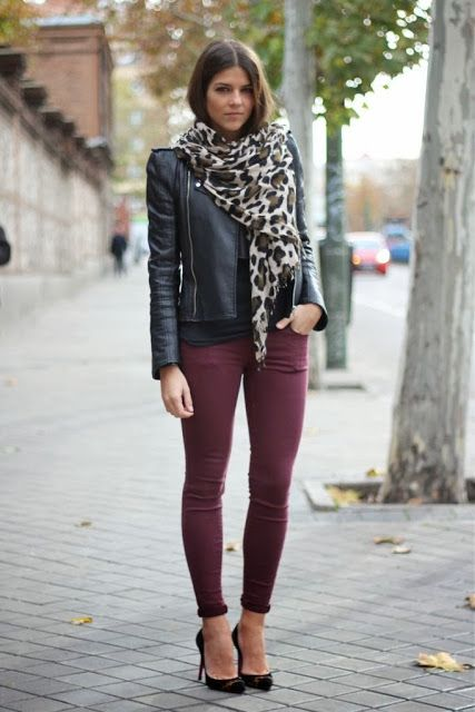 Purple color skinny jeans, black leather jeans, black high heels and leopard scarf inspiration | Fashion World