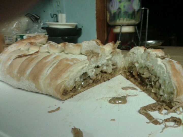 stuffed French bread. Made this last night. Pork, mushrooms, sauteed ...