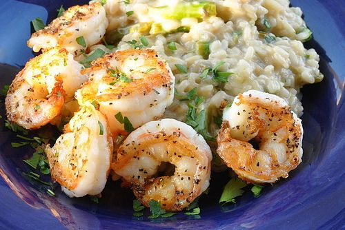 Shrimp & Creamy Risotto with Asparagus, Leeks, and Mascarpone Cheese