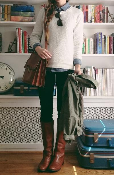 Cream sweater, chambray shirt, green utility jacket, black skinny jeans, brown riding boots