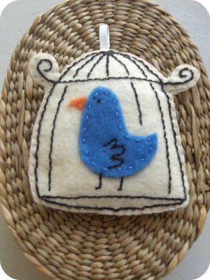 Felt Bird Cage Ornament