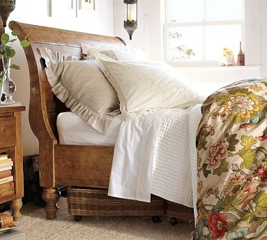 Ashby Sleigh Bed - Rustic Pine finish master bedroom
