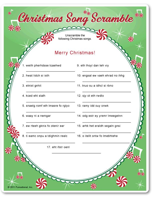Printable Christmas Song Scramble - Funsational.com
