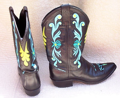 Beautiful Hand Painted SNAKESKIN Amp Leather DaN PoSt COWBOY BOOTS 65 Women39s Vi