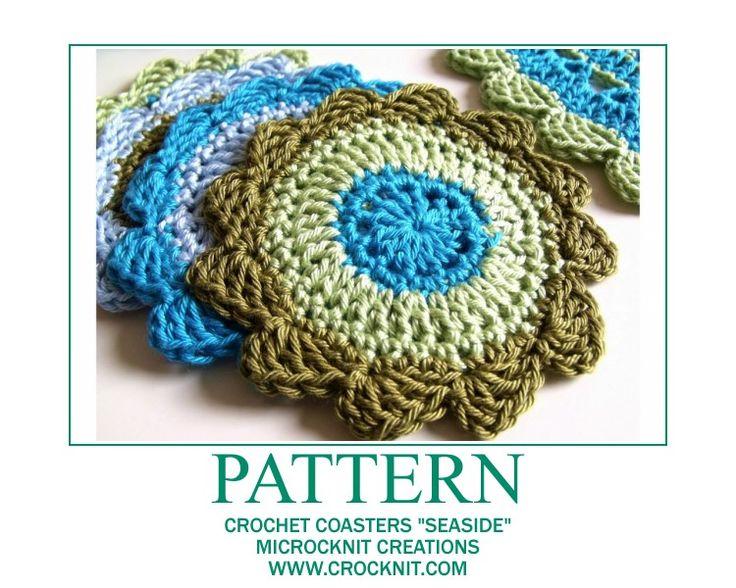Free Crochet Patterns Of Coasters : PATTERN Crochet Coasters SEASIDE Crochet Corner - Granny ...