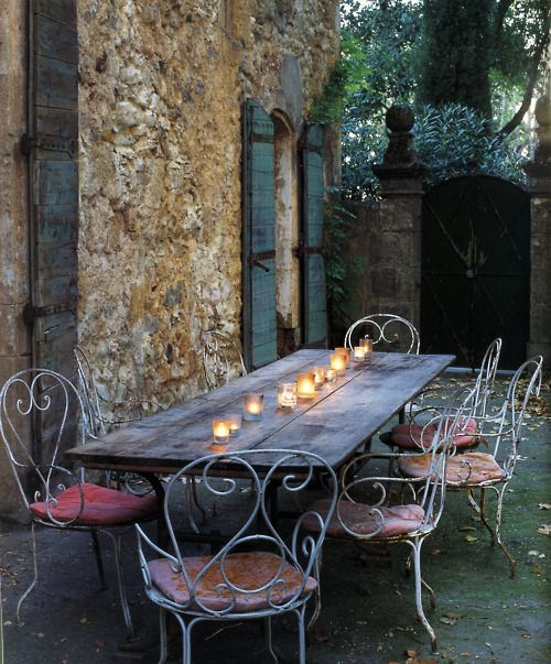 Farm tables outside, always makes a perfect entertaining dinner.