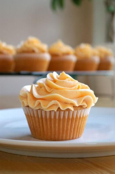 Peach Cupcakes with Peach Buttercream...now that's just peachy!