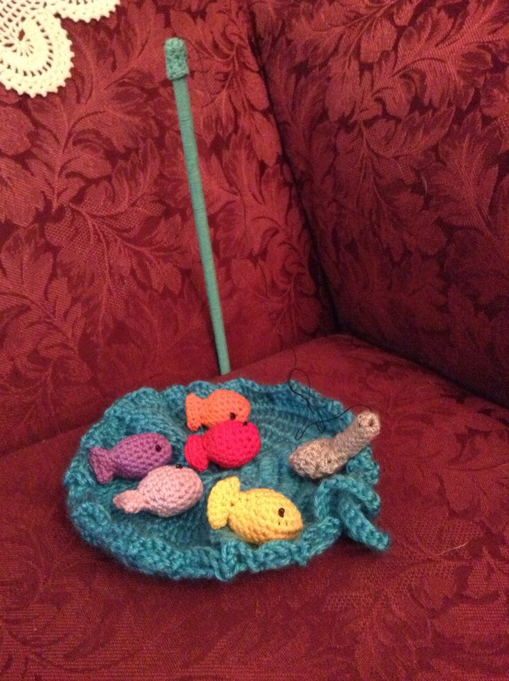 Crocheted fishing game! Shoe box for kids Pinterest