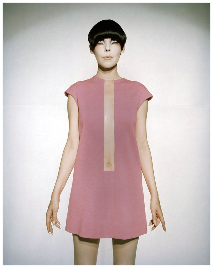 Peggy Moffitt modelling a pink Rudy Gernreich dress (1968)