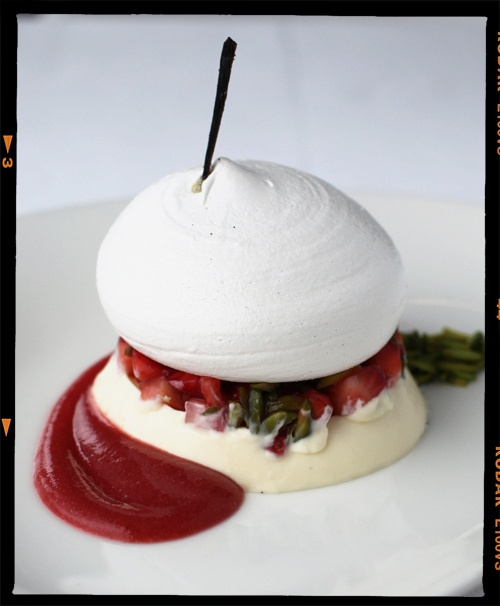 Vanilla Panna Cotta with Strawberry, Lime and Pavlova