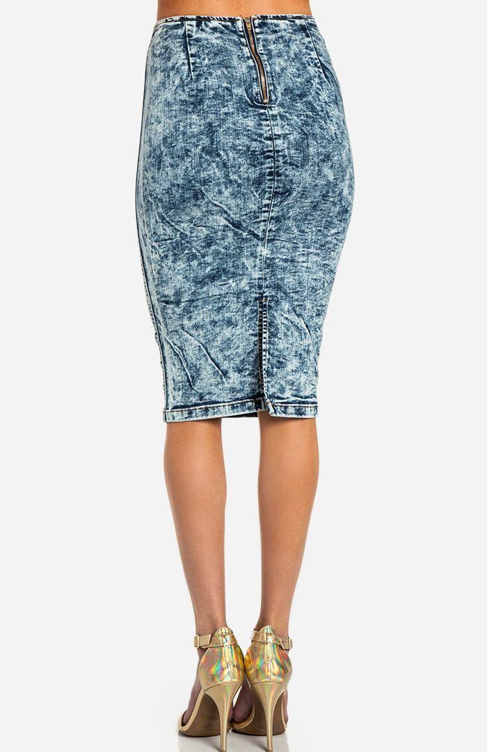 acid wash denim pencil skirt s fashion