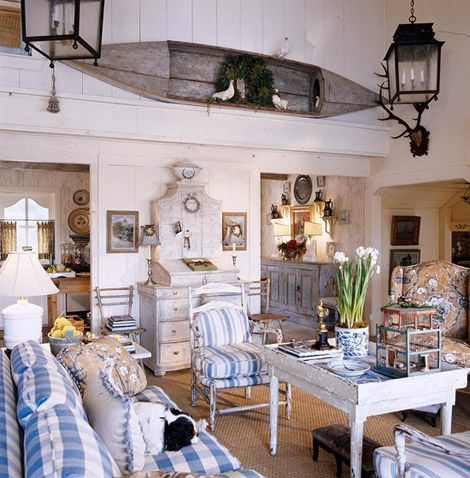 Rustic living room with Swedish influence with lots of blue and white ~ Charles Faudree