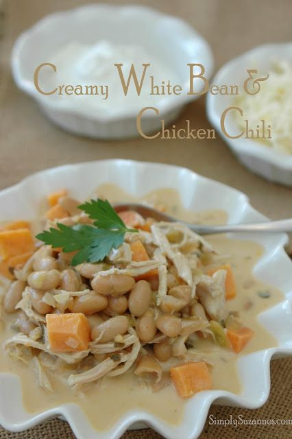 ... AT HOME: creamy white bean & chicken chili with roasted sweet potatoes