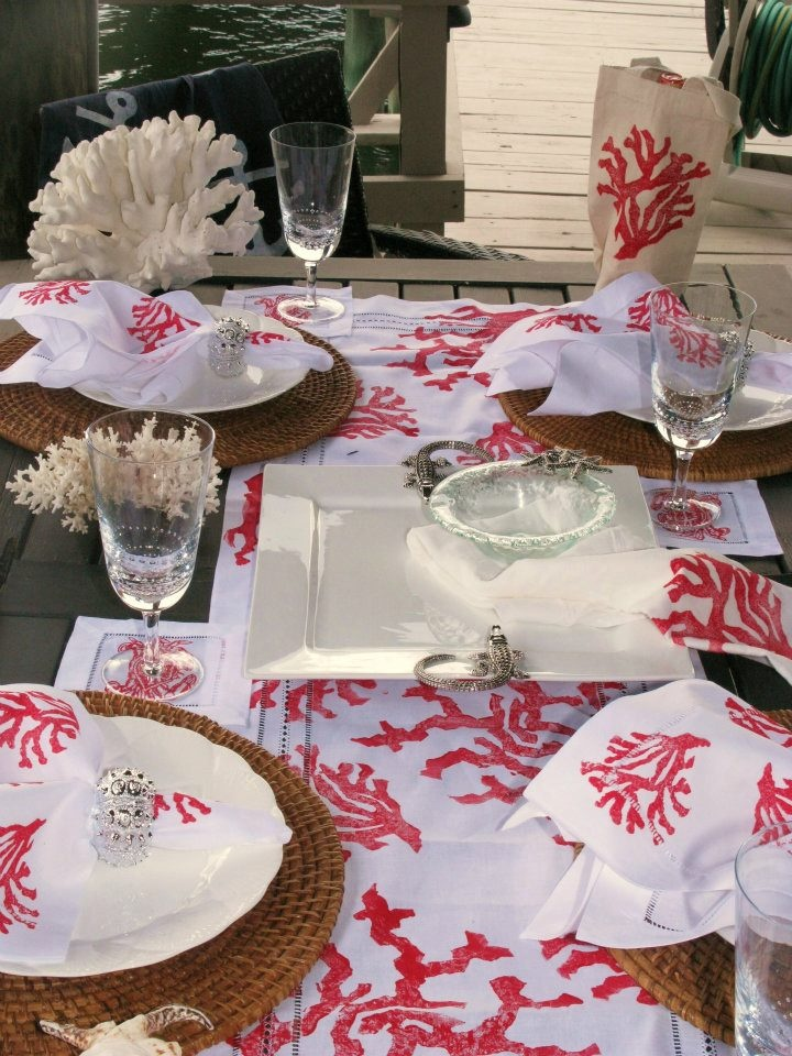 Red and White coral beach table scape - fun for summer entertaining, could also work for a coastal holiday